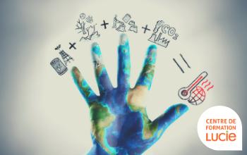 Main représentant la terre avec à chaque extrémité d'un doigt un problème environnemental, additionnés, ils expliquent le réchauffement climatique