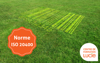 code barre dans un pelouse - ISO 20400 - Agence LUCIE