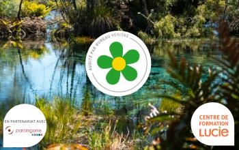 Visuel temporaire formation labellisation Biodiversity Progress avec son logo et celui du centre de formation LUCIE