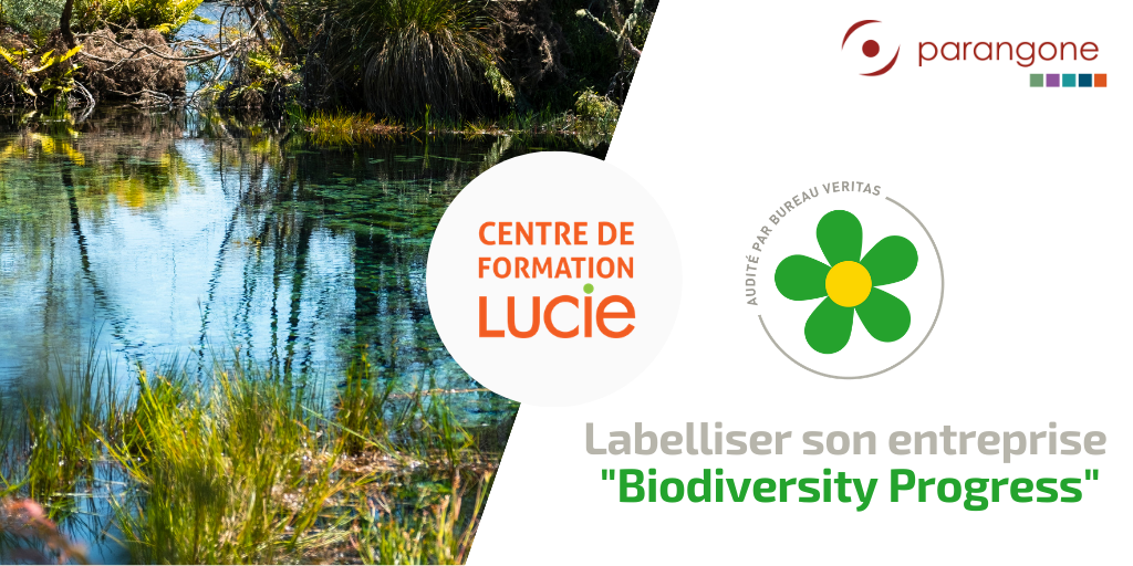 "Affiche formation ""labellisation Biodiversity Progress"" avec photo d'un lac, logo biodiversity progress, logo parangone, logo Centre de Formation LUCIE et titre formation"